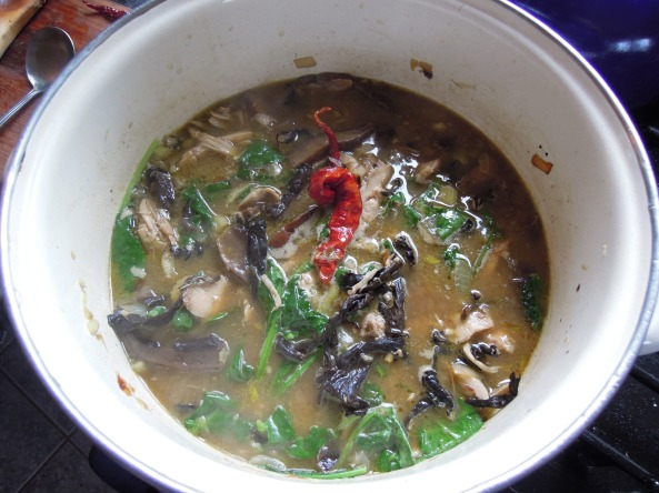 homegrown chicken soup with garlic, foraged black trumpet mushrooms,  frozen kale and dried hot peppers.