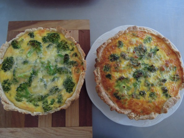 """ the quiche on the top rack of the oven, always gets a bit more golden brown.......both firm and fully cooked however"""