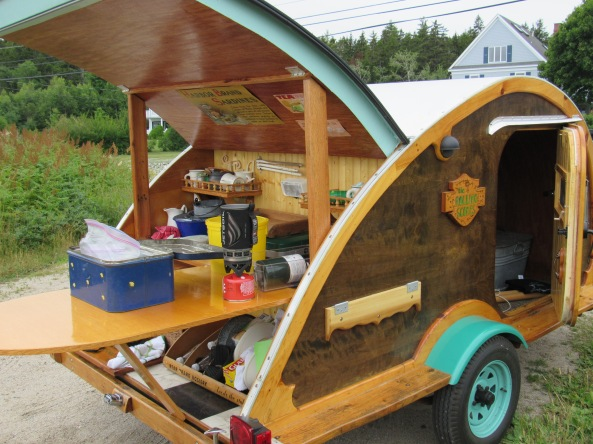 "Sally's Teardrop trailer dubbed ""the Rolling Scone"""